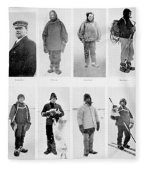 Members Of The British Antarctic Expedition At The Start Of The Journey Fleece Blanket