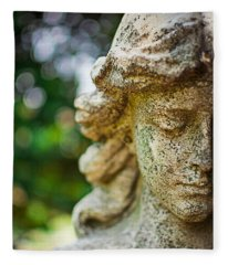 Memphis Elmwood Cemetery - Girl With Cross Close-up Fleece Blanket