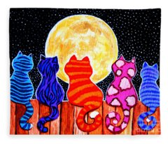 Meowing At Midnight Fleece Blanket