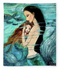 Mermaid Mother And Child Fleece Blanket