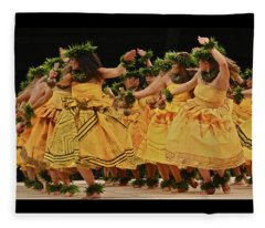 Merrie Monarch Hula Dancers In Yellow Dresses Fleece Blanket