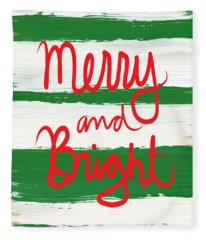 Merry And Bright- Greeting Card Fleece Blanket