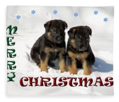 Merry Christmas Puppies Fleece Blanket