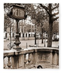 Metro Franklin Roosevelt - Paris - Vintage Sign And Streets Fleece Blanket