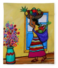 Mexican Street Vendor Fleece Blanket