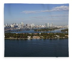Miami And Star Island Skyline Fleece Blanket