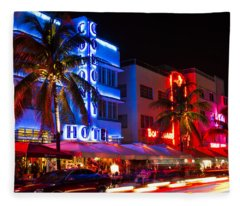 Miami Beach Ocean Drive Fleece Blanket