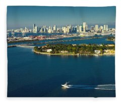 Miami City Biscayne Bay Skyline Fleece Blanket