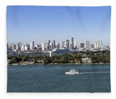 Miami Daytime Panorama Fleece Blanket