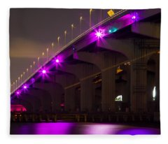 Miami Macarthur Causeway Bridge Fleece Blanket
