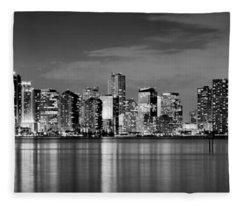 Miami Skyline At Dusk Black And White Bw Panorama Fleece Blanket