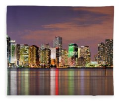 Miami Skyline At Dusk Sunset Panorama Fleece Blanket