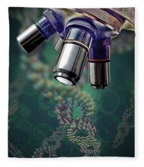Microscope Dna Strands Fleece Blanket