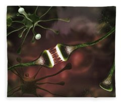 Microscopic Image Of Brain Neurons Fleece Blanket