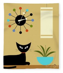 Mid Century Ball Clock 2 Fleece Blanket