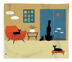 Mid Century Dogs And Cats Fleece Blanket