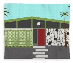 Mid Century Modern House 4 Fleece Blanket
