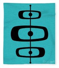 Mid Century Shapes 2 On Turquoise Fleece Blanket