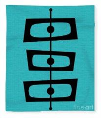 Mid Century Shapes On Turquoise Fleece Blanket