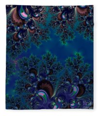 Midnight Blue Frost Crystals Fractal Fleece Blanket
