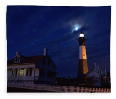 Midnight Moon Over Tybee Island Fleece Blanket