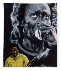 Miles Davis Jazz King Fleece Blanket
