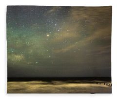Milky Way Over Folly Beach Fleece Blanket