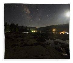 Milky-way Over Plasse's Resort - Silver Lake Fleece Blanket