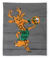 Milwaukee Bucks Basketball Team Logo Vintage Recycled Wisconsin License Plate Art Fleece Blanket