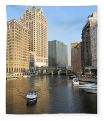 Milwaukee River Theater District 3 Fleece Blanket
