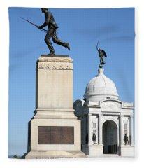 Minnesota And Pennsylvania Monuments At Gettysburg Fleece Blanket
