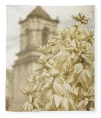 Mission San Jose And Blooming Yucca Fleece Blanket