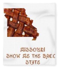 Missouri - Show Me The Bacon - State Map Fleece Blanket