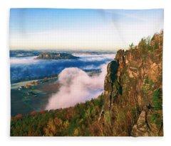 Mist Flow Around The Fortress Koenigstein Fleece Blanket