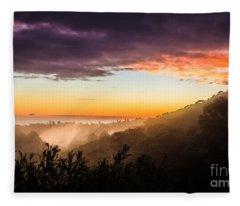 Mist Rising At Dusk Fleece Blanket