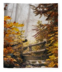 Misty Footbridge Fleece Blanket