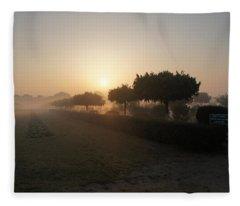 Misty Garden In The Morning Light Fleece Blanket