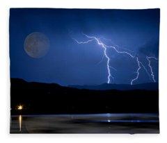 Misty Lake Full Moon Lightning Storm Fine Art Photo Fleece Blanket