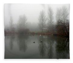 Misty Lake Reflections Fleece Blanket
