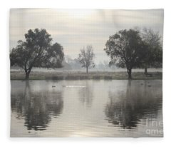 Misty Morning In Bushy Park London 2 Fleece Blanket