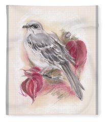 Mockingbird In Autumn Dogwood Fleece Blanket