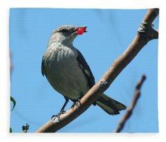 Mockingbird With Berries Fleece Blanket