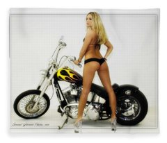 Models And Motorcycles_j Fleece Blanket