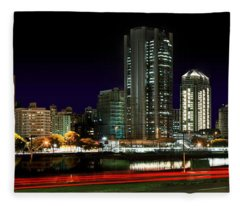 Modern Sao Paulo Skyline Near Brooklin District And Stayed Bridge Fleece Blanket