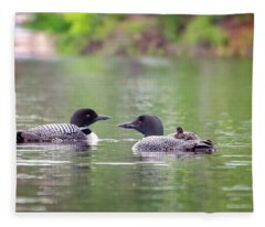 Mom And Dad Loon With Baby On Back Fleece Blanket