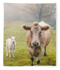 Momma And Baby Cow Fleece Blanket