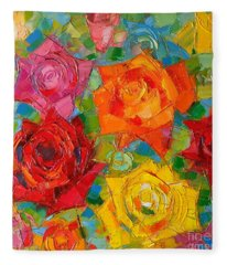 Mon Amour La Rose Fleece Blanket