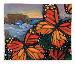 Monarch Butterflies At Natural Bridges Fleece Blanket