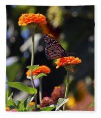 Monarch Butterfly And Orange Zinnias Fleece Blanket