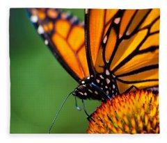 Monarch Butterfly Headshot Fleece Blanket